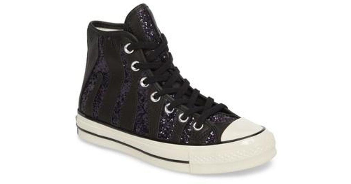 29badae23145 Lyst - Converse Chuck Taylor All Star 70 Animal Glitter High Top Sneaker in  Black