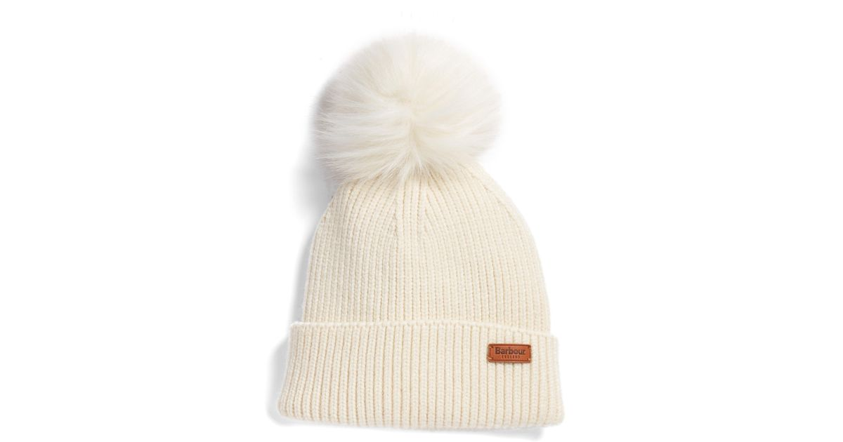 Lyst - Barbour Dove Pom Beanie in Natural 7342bcd478a