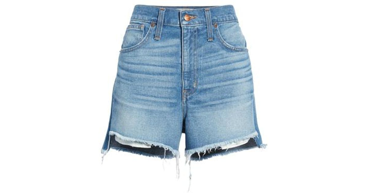 43a9d9426b Lyst - Madewell Perfect Step Hem Denim Shorts in Blue