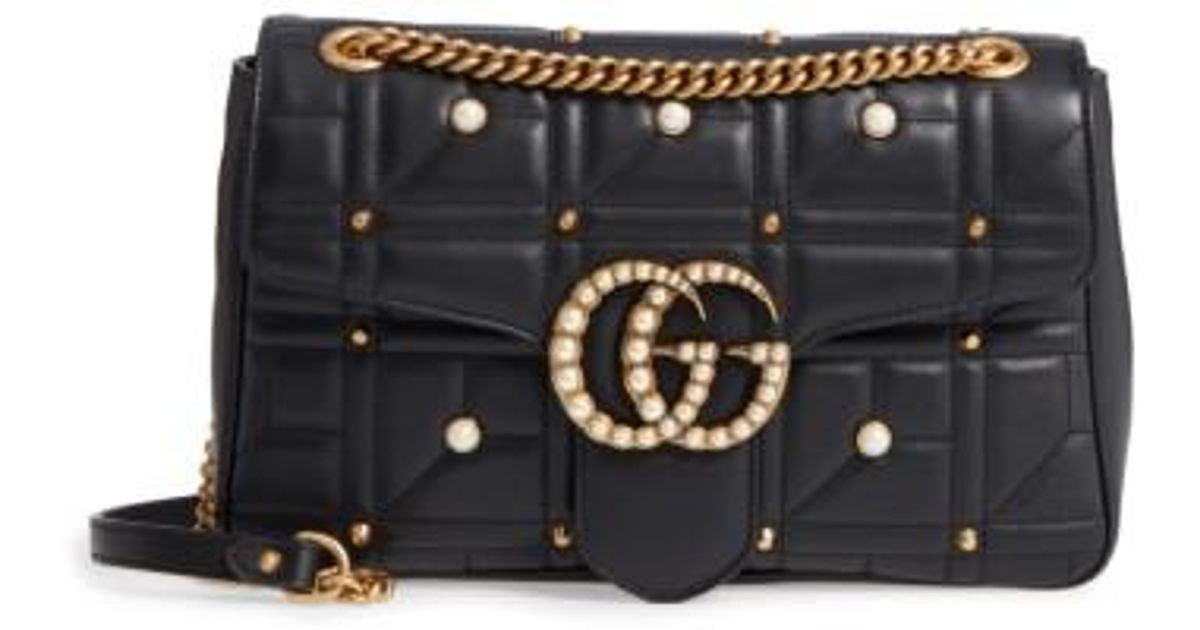 801d9542d01f Gucci Gg Marmont 2.0 Imitation Pearl Logo Matelasse Leather Shoulder Bag -  None in Black - Lyst
