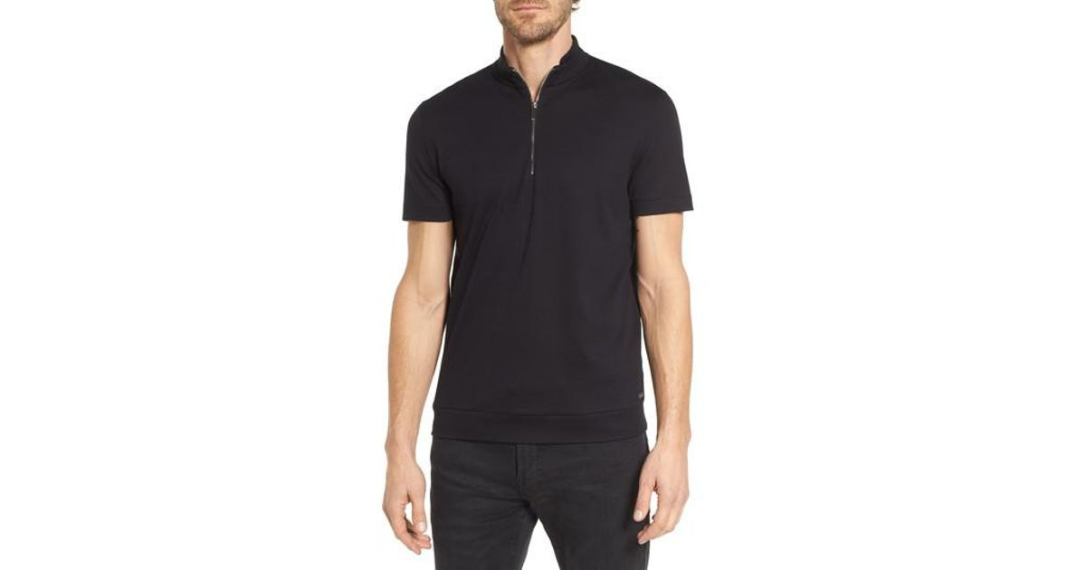 1b174475 BOSS Pallardi Mercedes Slim Fit Zip Henley in Black for Men - Lyst