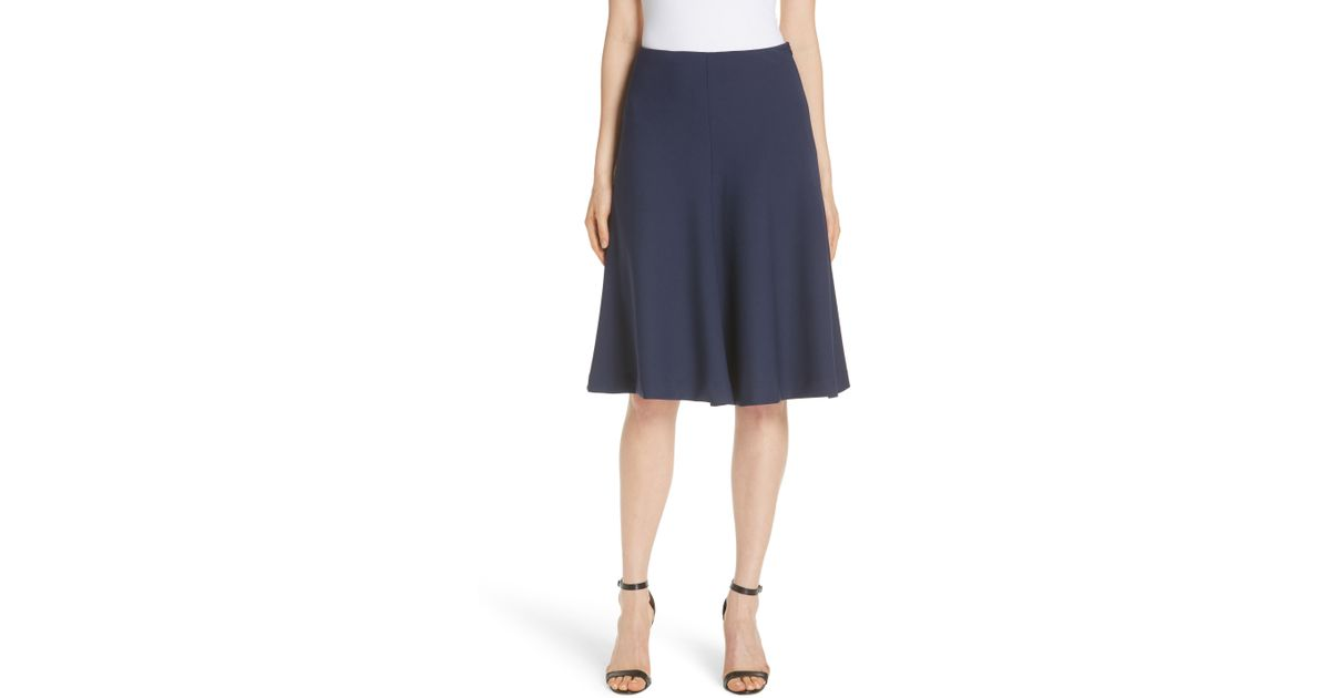 8548335805 Lyst - MILLY Stretch Crepe Bell Skirt in Blue