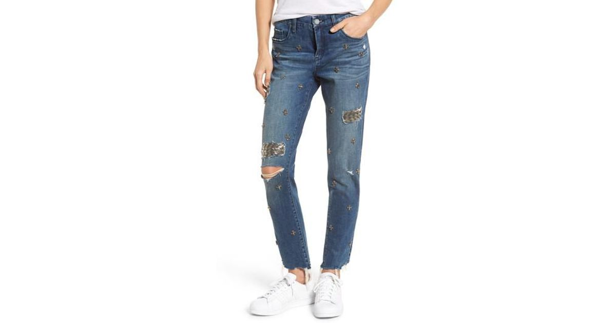 Blank NYC Charm Skinny Jean with Jewel Embellishment - Blue Blank NYC Low Price Online Best Seller For Sale Cheap Marketable Free Shipping For Sale Online Cheap Quality wnpVYEQjA4