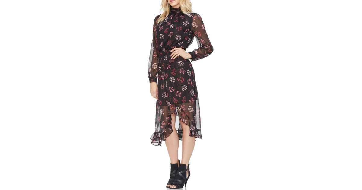 25c444bfd2 Vince Camuto Long Sleeve Regal Stamp Floral Maxi Dress (rich Black) Dress  in Black - Save 60% - Lyst