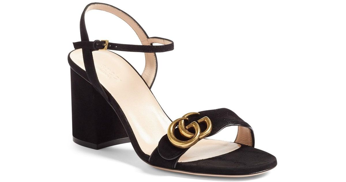 6265f83a92df Lyst - Gucci Marmont Suede Sandals in Black