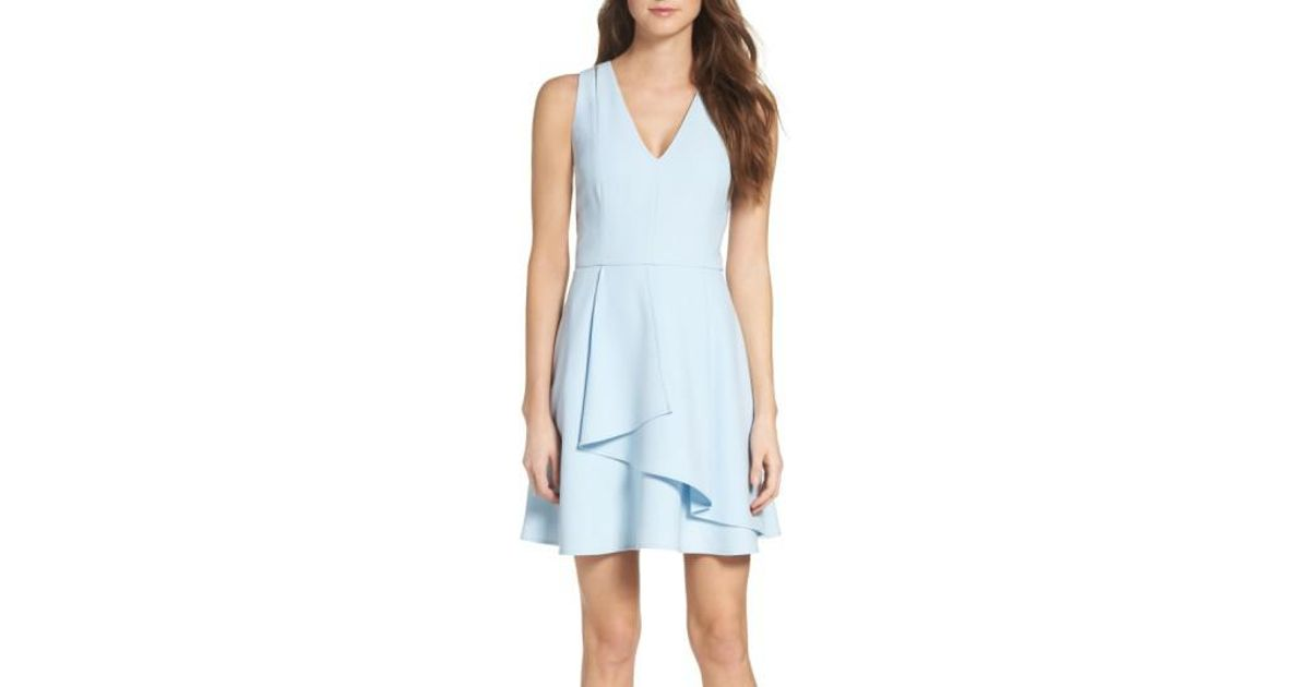 Adelyn Rae Asymmetrical Crepe Fit Amp Flare Dress In Blue Lyst