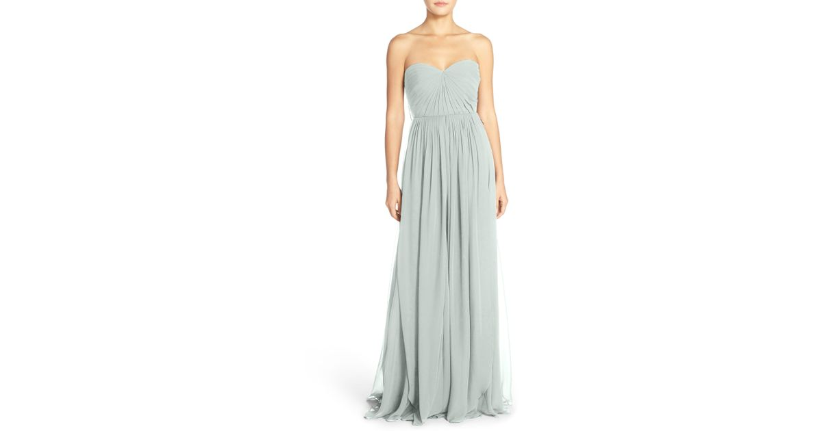 80f3e3d87add Jenny Yoo Mira Convertible Strapless Chiffon Gown in Natural - Lyst