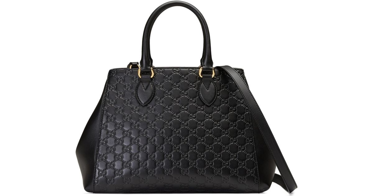 7f8bd5a0f72 Lyst - Gucci Large Top Handle Signature Soft Leather Tote in Black