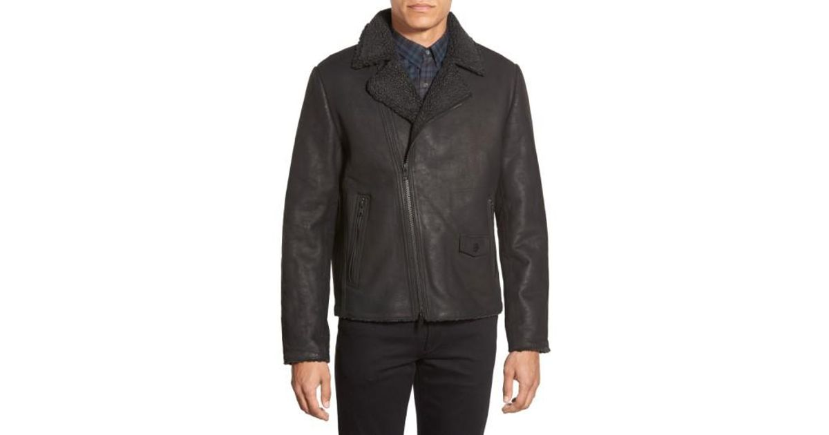 c41bf72e2cb72 Vince Camuto Leather Moto Jacket With Faux Shearling Lining in Black for  Men - Lyst