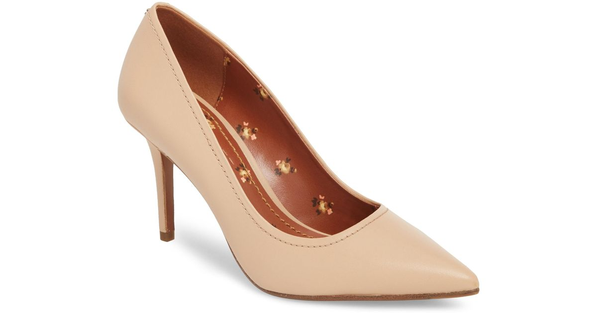 385f61a9b2e Lyst - COACH Waverly High Heel Pump in Brown