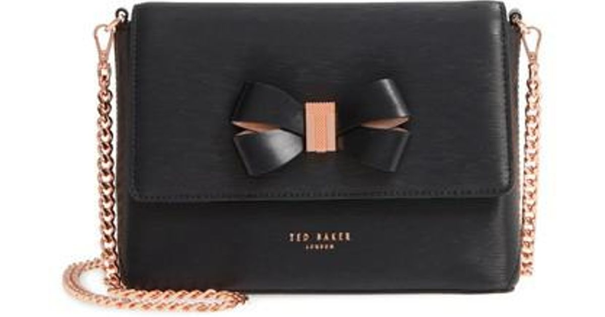 92e25476a Lyst - Ted Baker Bowii Bow Mini Bark Leather Crossbody Bag in Black