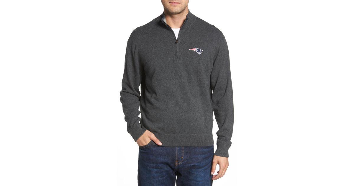 a9708c746db Lyst - Cutter   Buck New England Patriots - Lakemont Regular Fit Quarter  Zip Sweater in Blue for Men