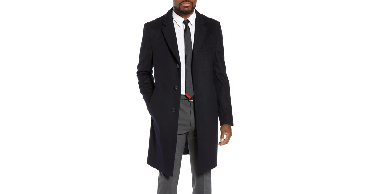 1bd8afb47778 Lyst - Boss Nye Regular Fit Solid Wool   Cashmere Topcoat in Blue for Men