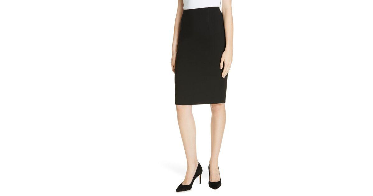 707103f92e8 Lyst - BOSS Virera Ponte Pencil Skirt in Black