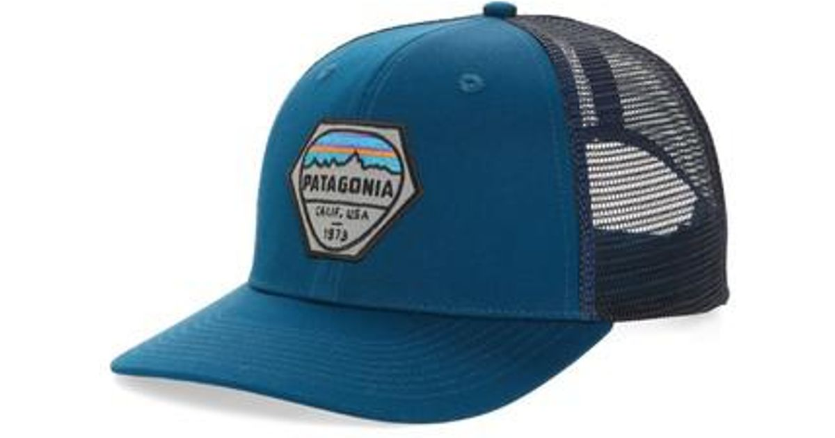 4ccd619484c Patagonia Fitz Roy Hex Trucker Cap in Blue for Men - Lyst