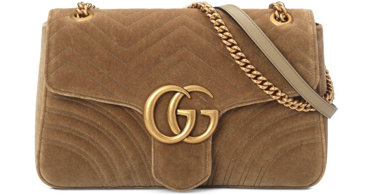cd37fcb4 Gucci Brown Medium Gg Marmont 2.0 Matelasse Velvet Shoulder Bag