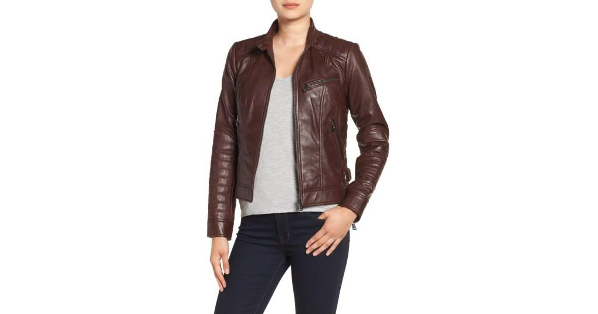 Lyst Bernardo Quilted Leather Moto Jacket In Brown