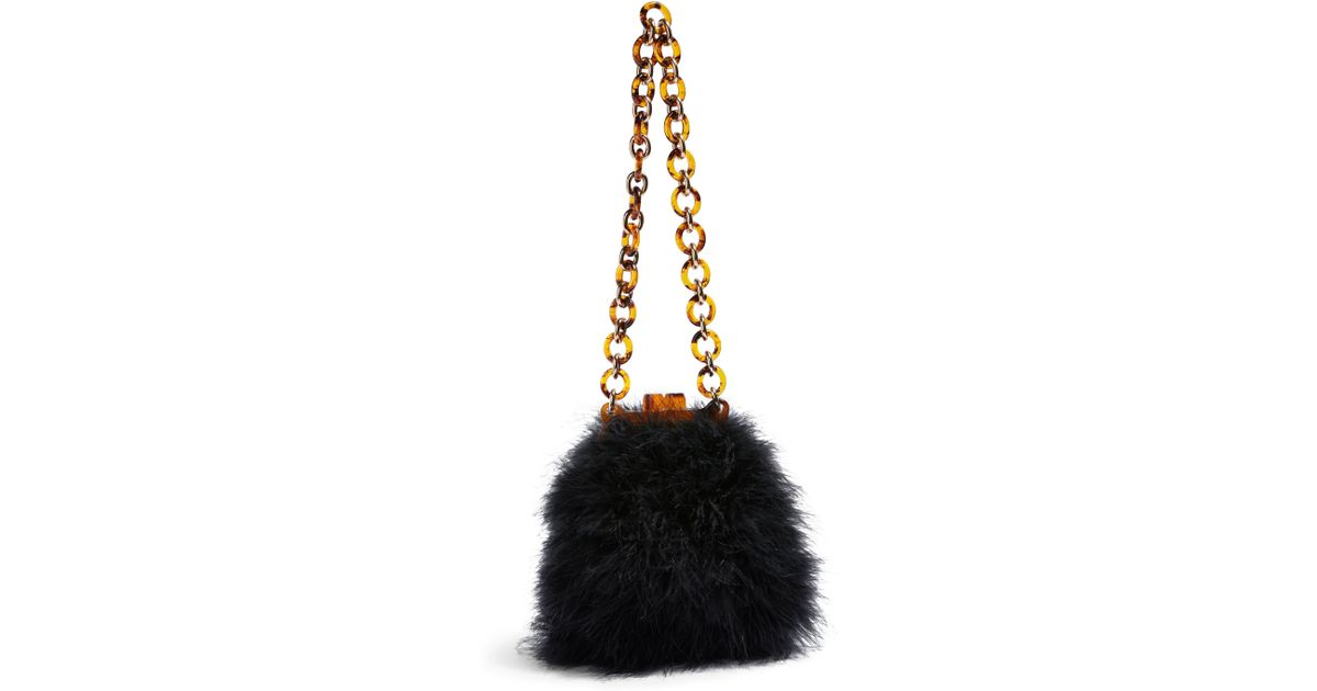 Lyst - TOPSHOP Marabou Feather Frame Handbag - in Black fa0994300e012