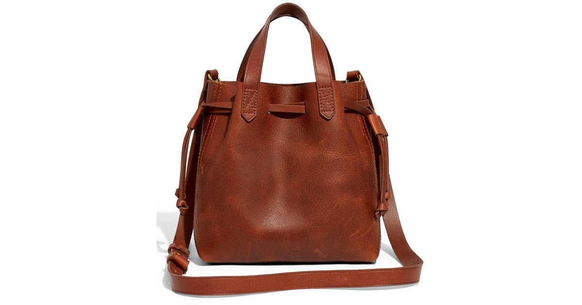 f6168095a Madewell The Mini Pocket Transport Leather Drawstring Tote - in Brown - Lyst