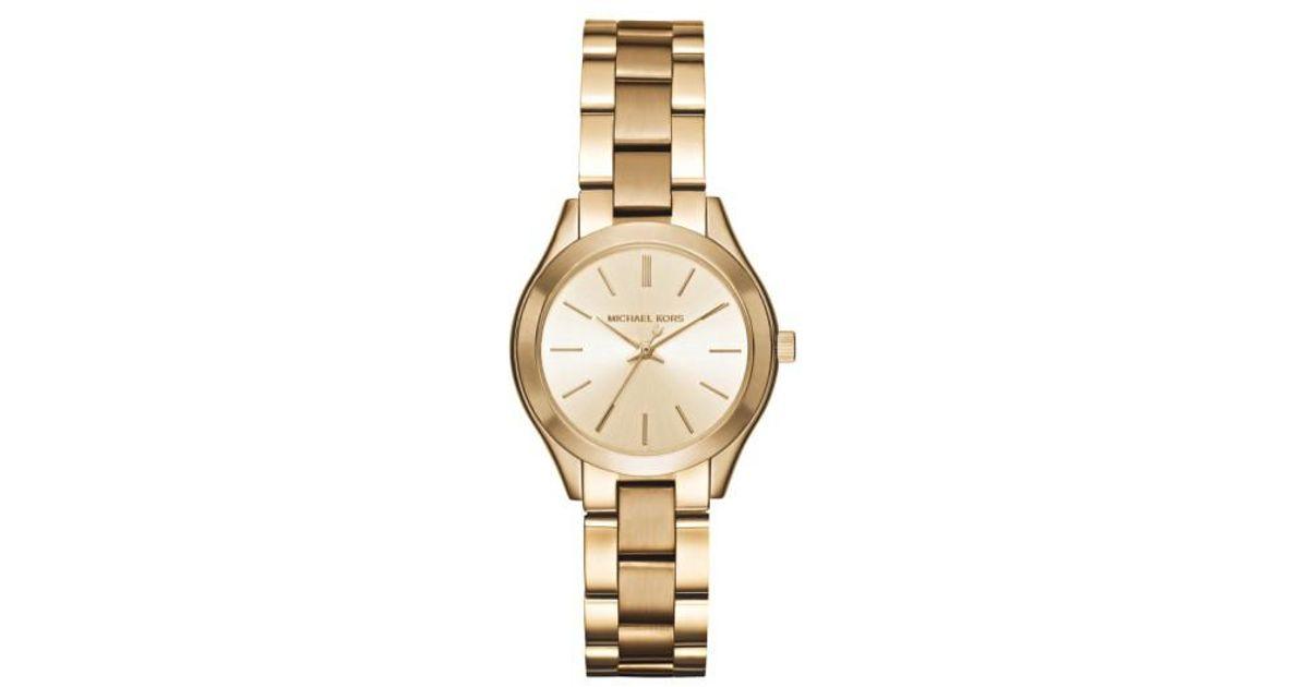 ea70b566ceba Lyst - Michael Kors  slim Runway  Bracelet Watch in Metallic