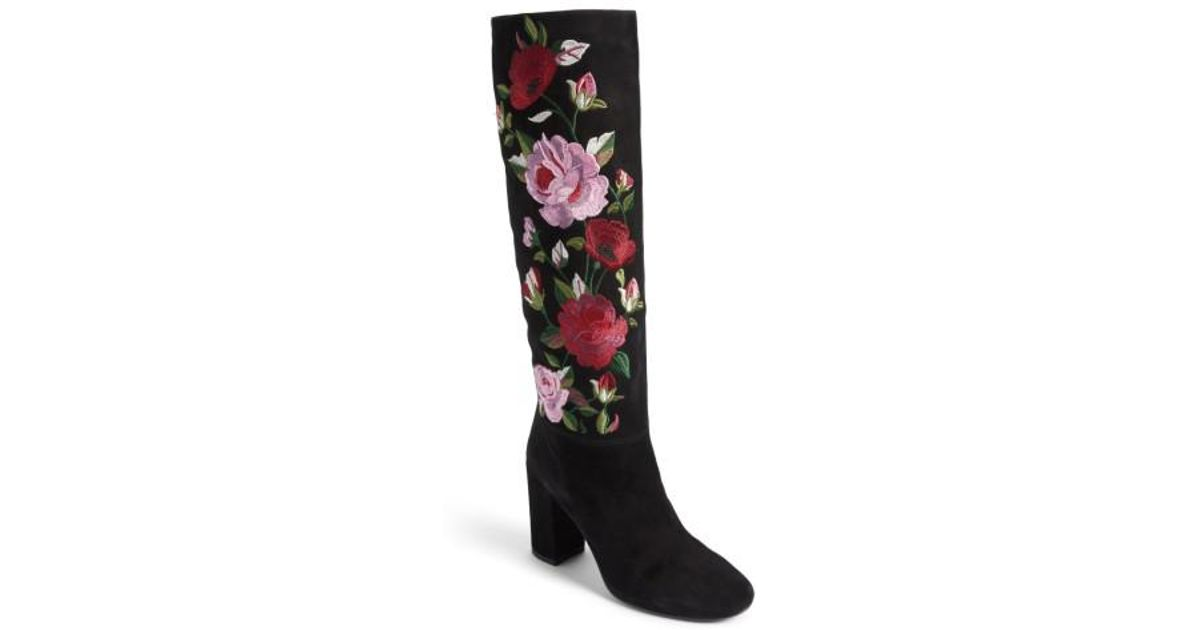 9079489fbaf Lyst - Kate Spade Greenfield Flower Embroidered Boot in Black