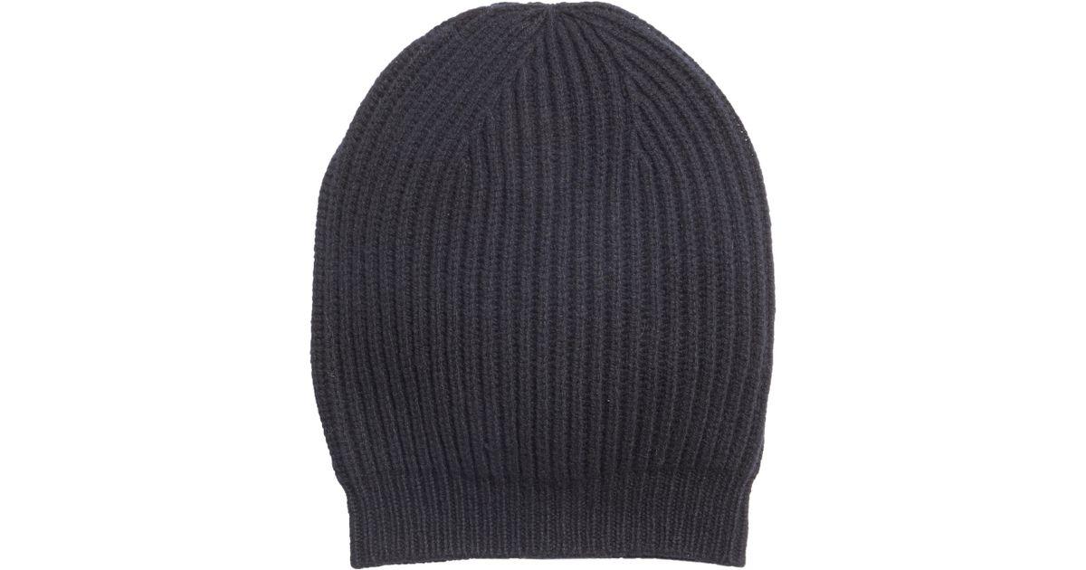 2972cd8c99b14 Lyst - Rick Owens Rib Knit Wool Beanie in Black