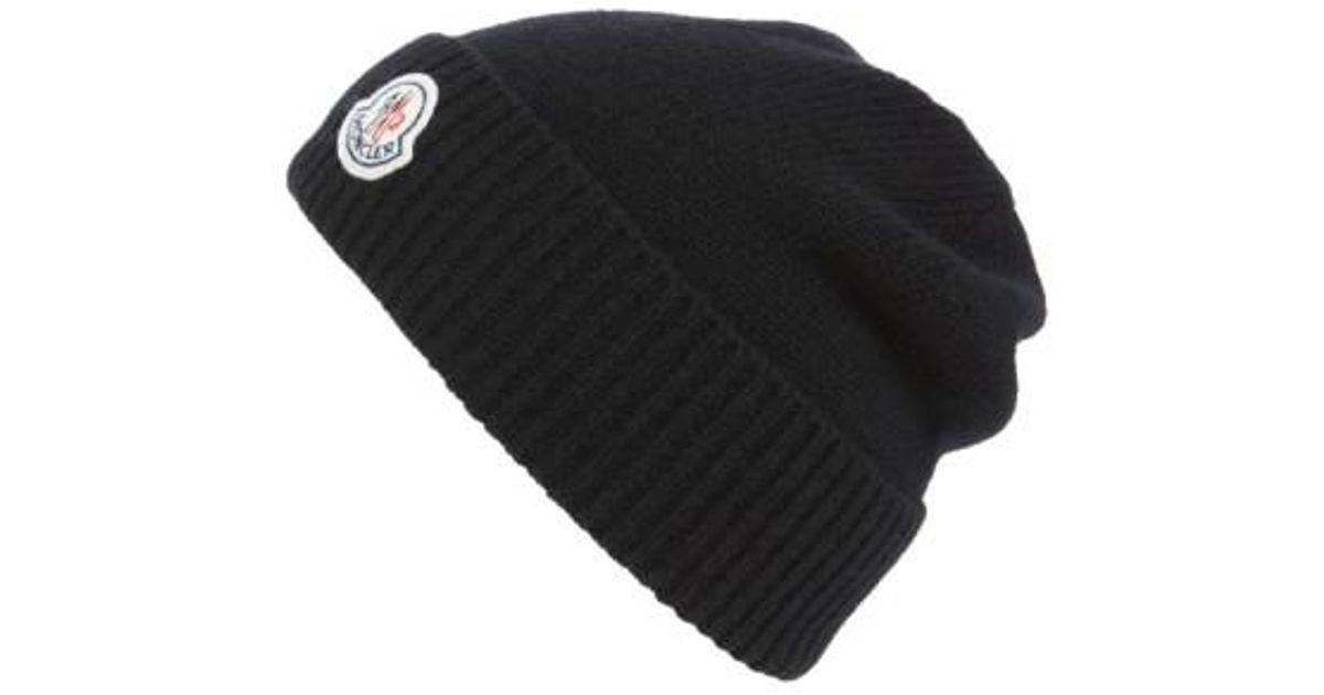 Lyst - Moncler Berretto Wool Beanie in Black for Men e37832bca5b