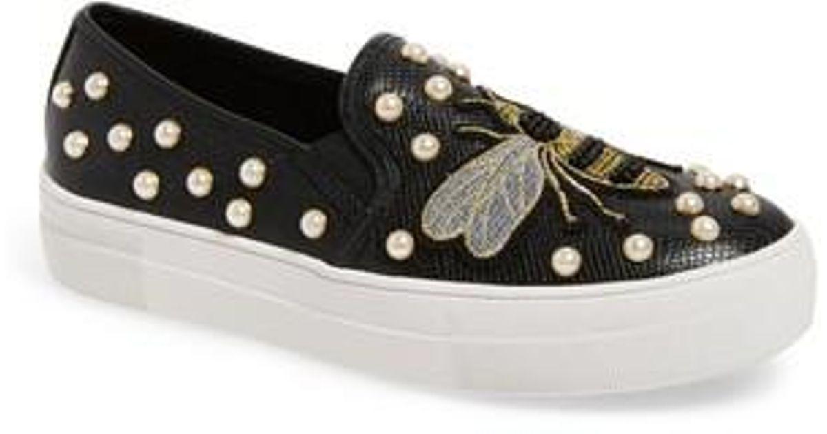 b32e43ef10a Lyst - Steve Madden Polly Bee Embellished Slip-on Platform Sneaker in Black