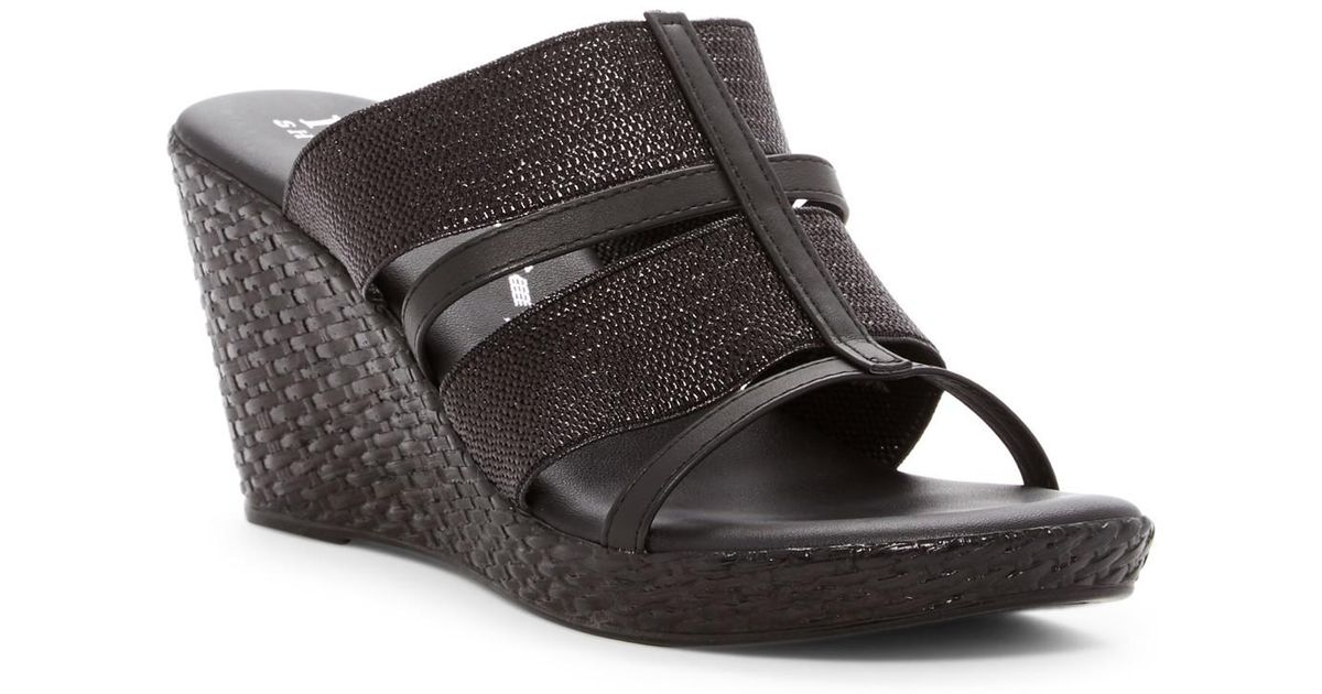e4f5b2c23 Lyst - Italian Shoemakers Woven Stretch Wedge Sandal in Black