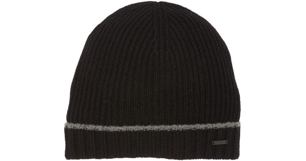 4bd4c892d14b9 Lyst - BOSS Striped Wool Beanie in Black for Men