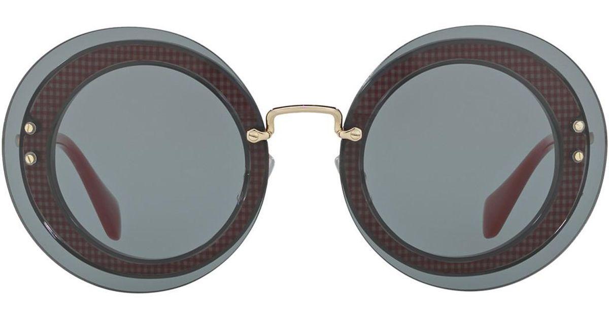 bbb7147fe238 Lyst - Miu Miu Reveal 64mm Round Sunglasses in Gray