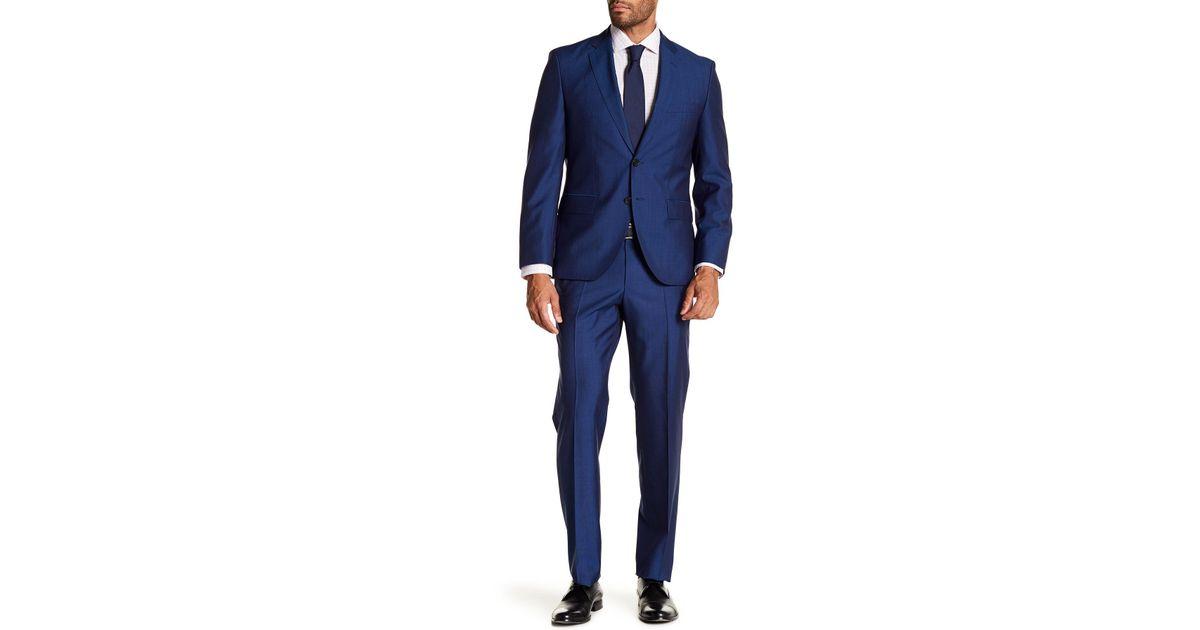 954fc62d3 BOSS Johnston's Lenon Medium Blue Two Button Notch Lapel Suit in Blue for  Men - Lyst