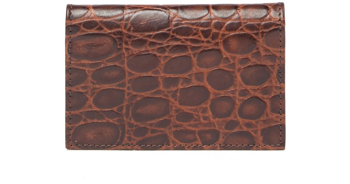 brand new 51bd9 b0228 Bosca Brown Victoria Croc Embossed Leather Card Case for men