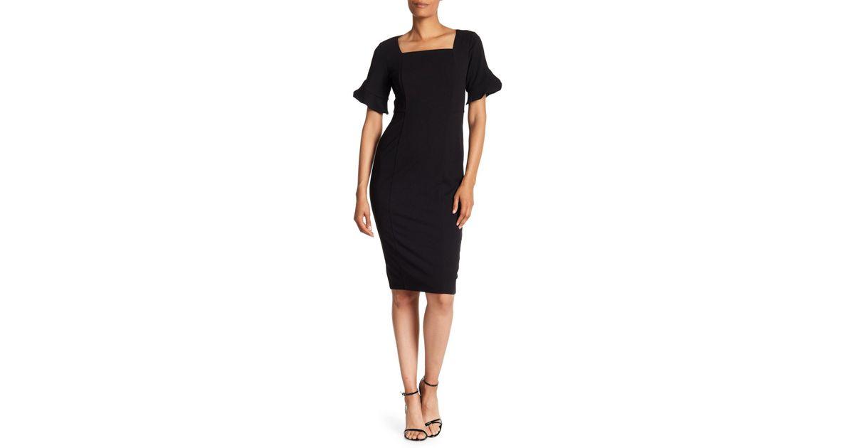 2407980d Donna Morgan Ruffle Sleeve Sheath Dress in Black - Lyst