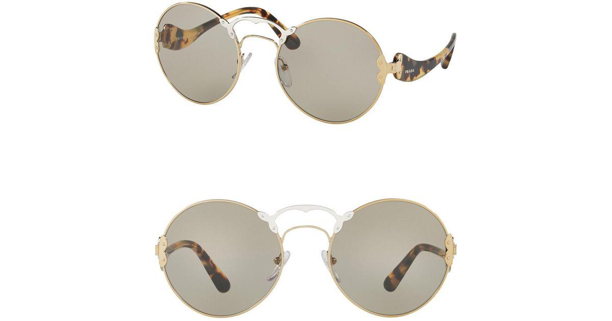 67542ac9ac8 Lyst - Prada Round Catwalk 57mm Sunglasses for Men