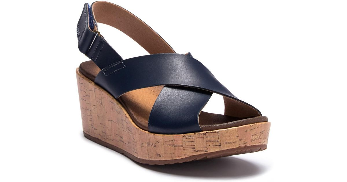 c67ae31adeef Lyst - Clarks Stasha Hale Leather Wedge Sandal - Wide Width Available in  Blue