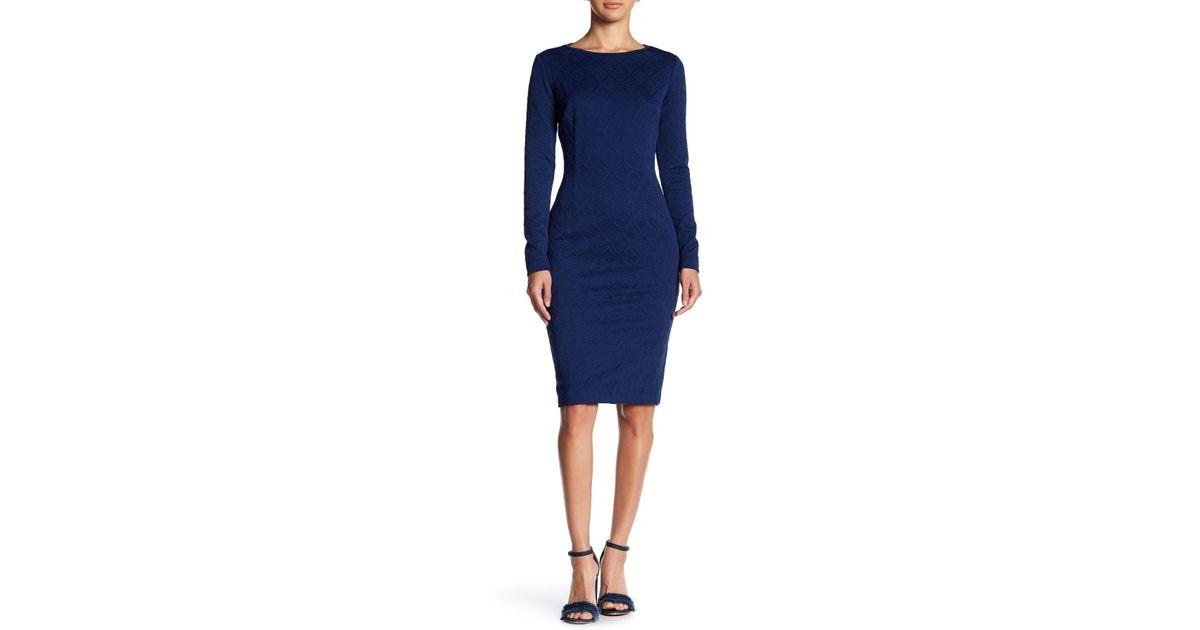 45cc24ec210e Lyst - Betsey Johnson Diamond Embossed Midi Dress in Blue