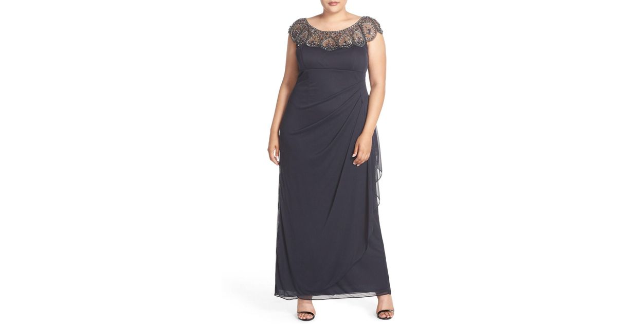 Lyst Xscape Beaded Neck Empire Gown Plus Size In Gray