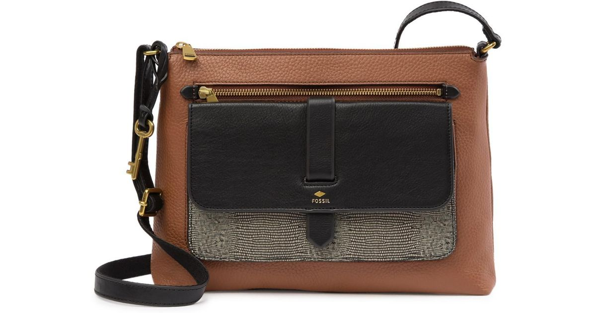 259534aa398 Fossil Kinley Large Leather Crossbody Bag in Brown - Lyst