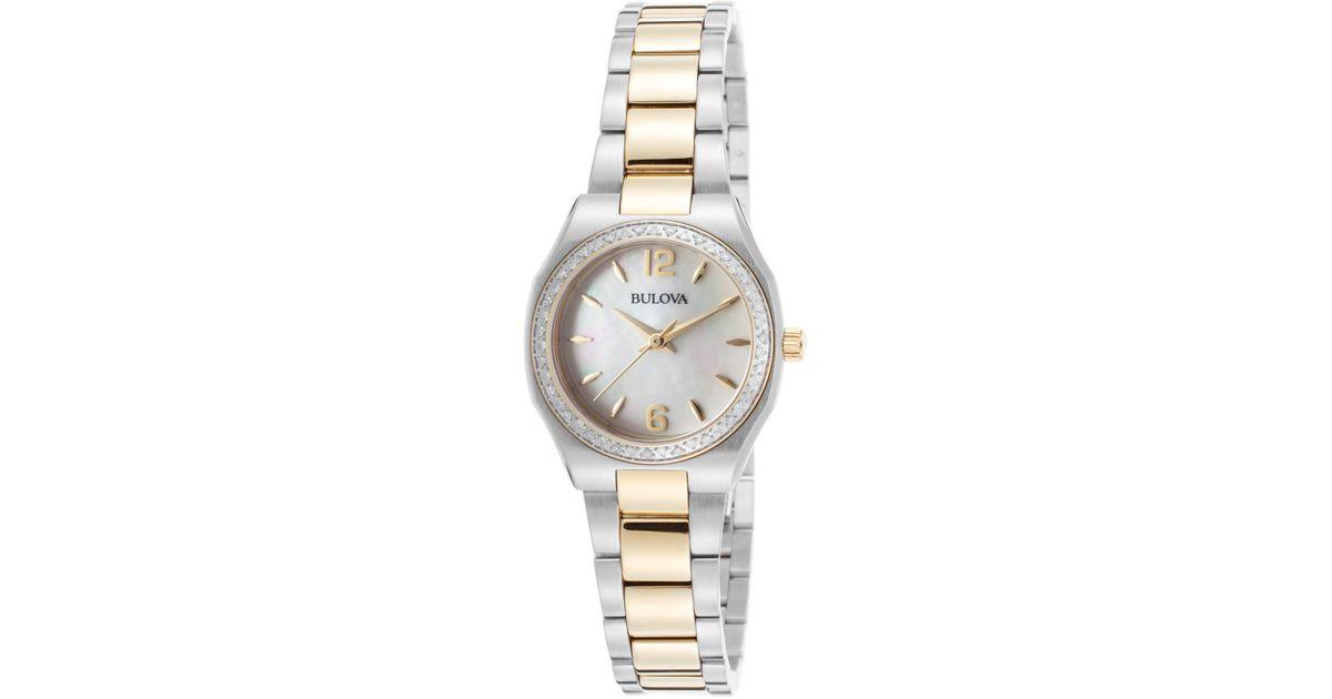 Bulova Women s Diamond Bracelet Watch 0 23 Ctw in Metallic