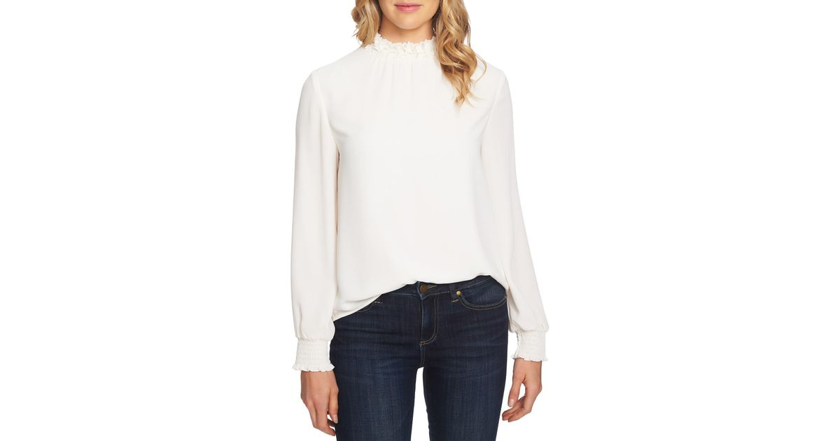ca204f3e01688 Lyst - Cece by Cynthia Steffe Embellished High Neck Top (regular   Plus Size)  in White