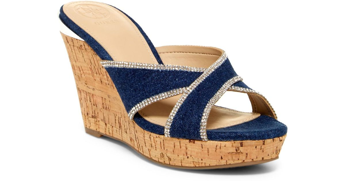 9390115c1ce3 Lyst - Guess Eleonora Wedge Sandals in Blue