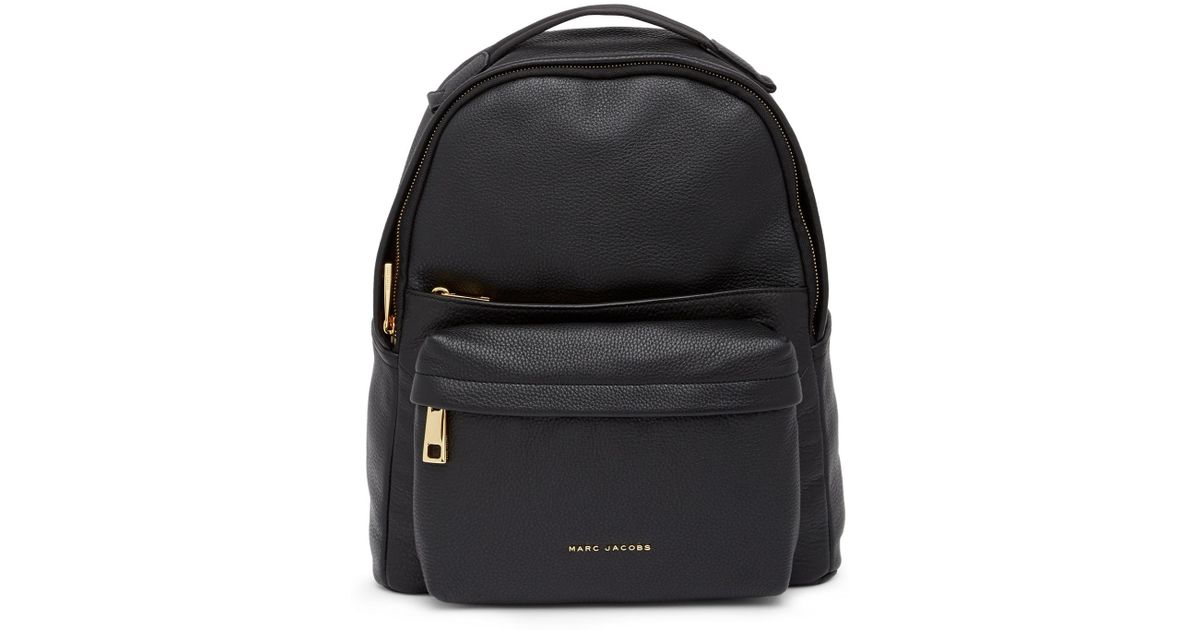 half price popular brand Super discount Marc Jacobs Black Varsity Pack Large Leather Backpack