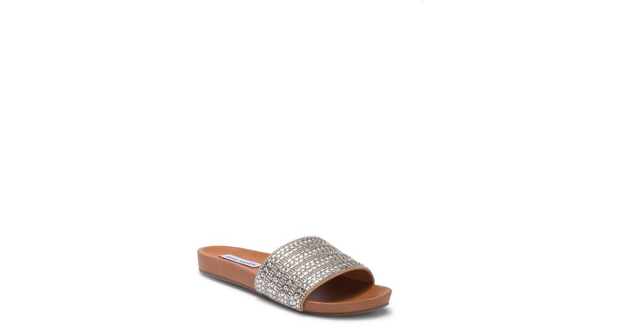 daa75cbfa62 Lyst - Steve Madden Dazzle Embellished Slide Sandal
