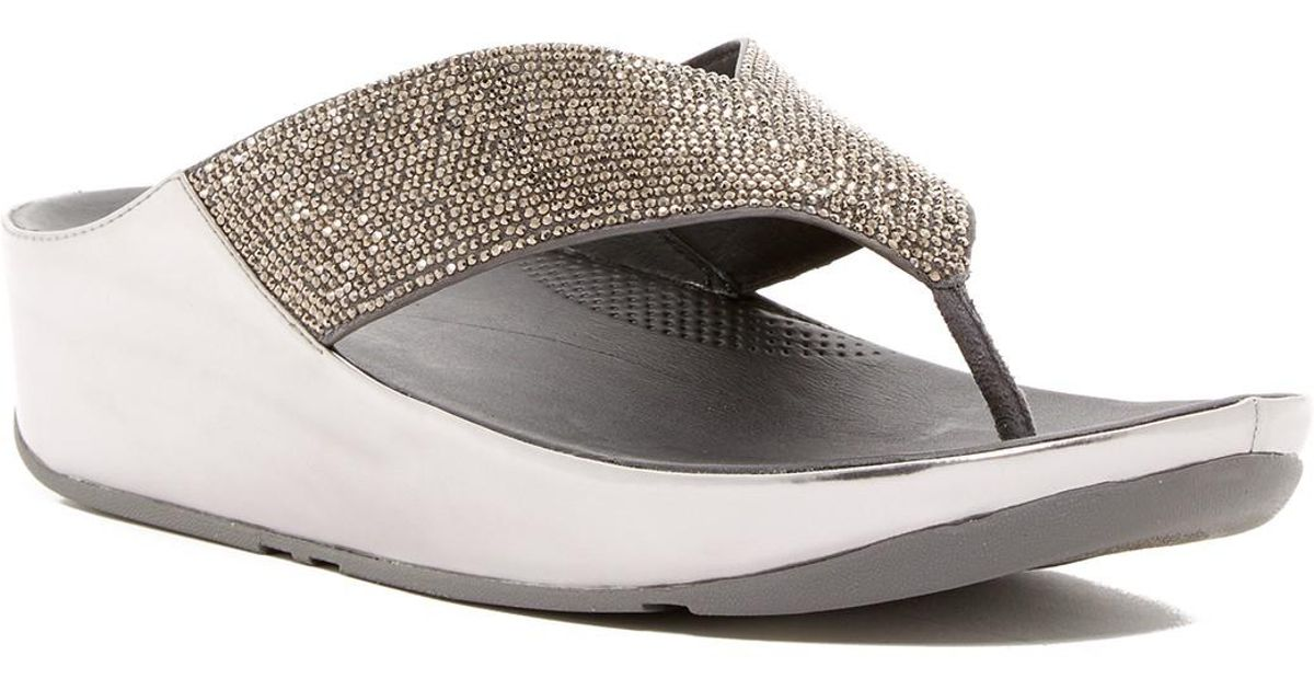 Fitflop Crystal Wedge Thong Sandal 7hs9by
