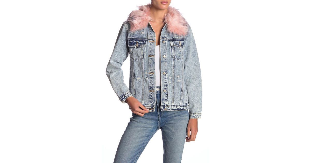 Lyst Honey Punch Faux Fur Collar Distressed Denim Jacket In Pink