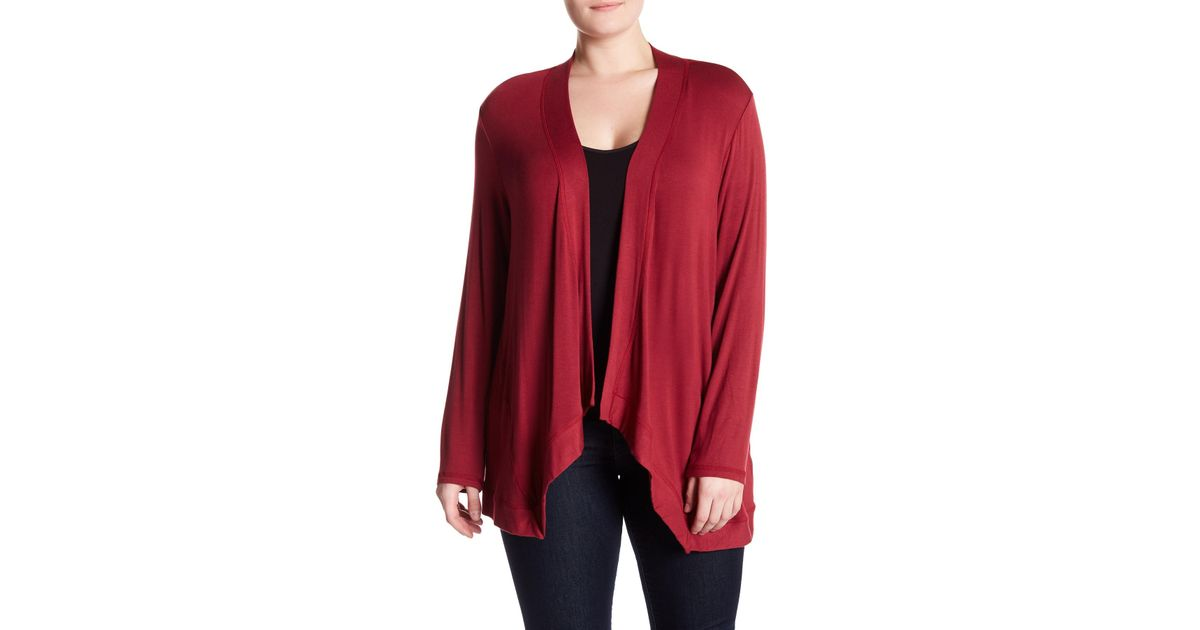 Lyst Bobeau Snit Open Cardigan Sweater Plus Size In Red