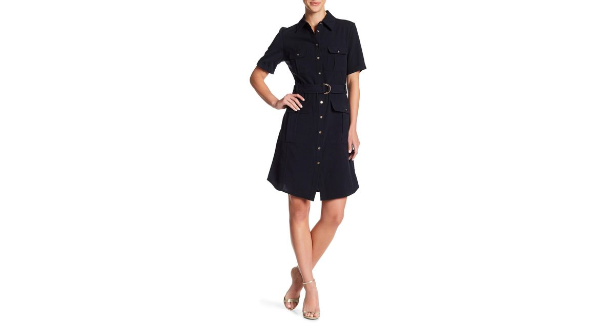 great quality fashion large discount Sharagano Belted Short Sleeve Shirt Dress in Blue - Lyst