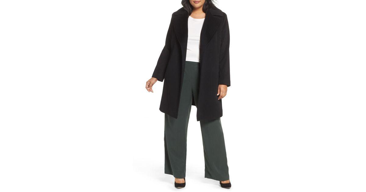 b560c693aaa Lyst - Fleurette Wool Wrap Coat (plus Size) in Black