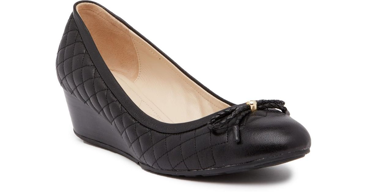 a9812919231 Lyst - Cole Haan Tali Grand Quilted Wedge Pump in Black